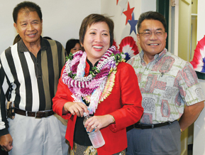Colleen Hanabusa with supporters